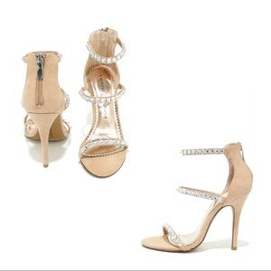 Jitters Dark Nude Rhinestone Dress Sandals